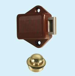 Brass Mini Push Button Latch with Knob